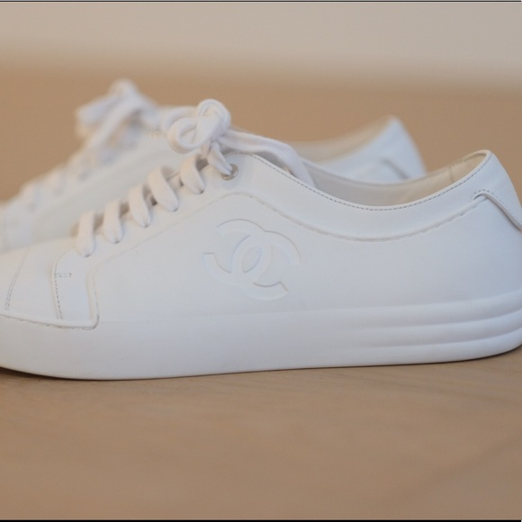 947c48d65 CHANEL Shoes | White Calfskin Leather Cc Sneakers | Poshmark